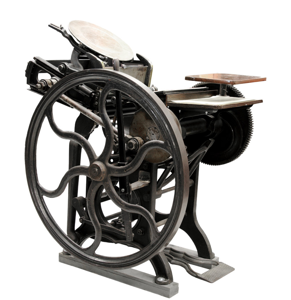 A Chandler & Price platen press, like the one we use in our studio.