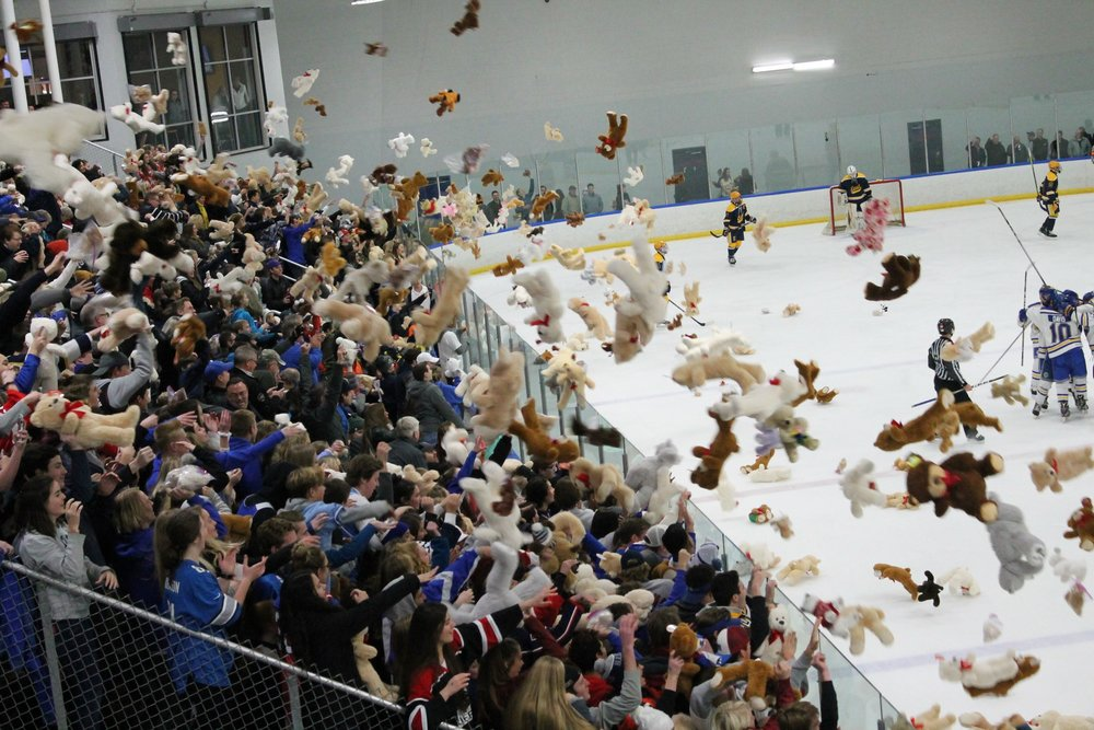 Fans toss bears onto the ice after the first goal is scored at last year's Teddy Bear Toss