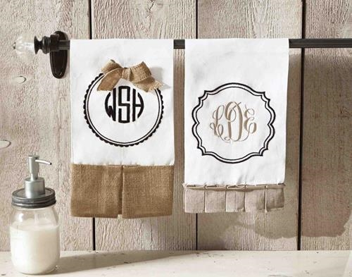 Monogrammed Tea Towels Golden Arrow Boutique