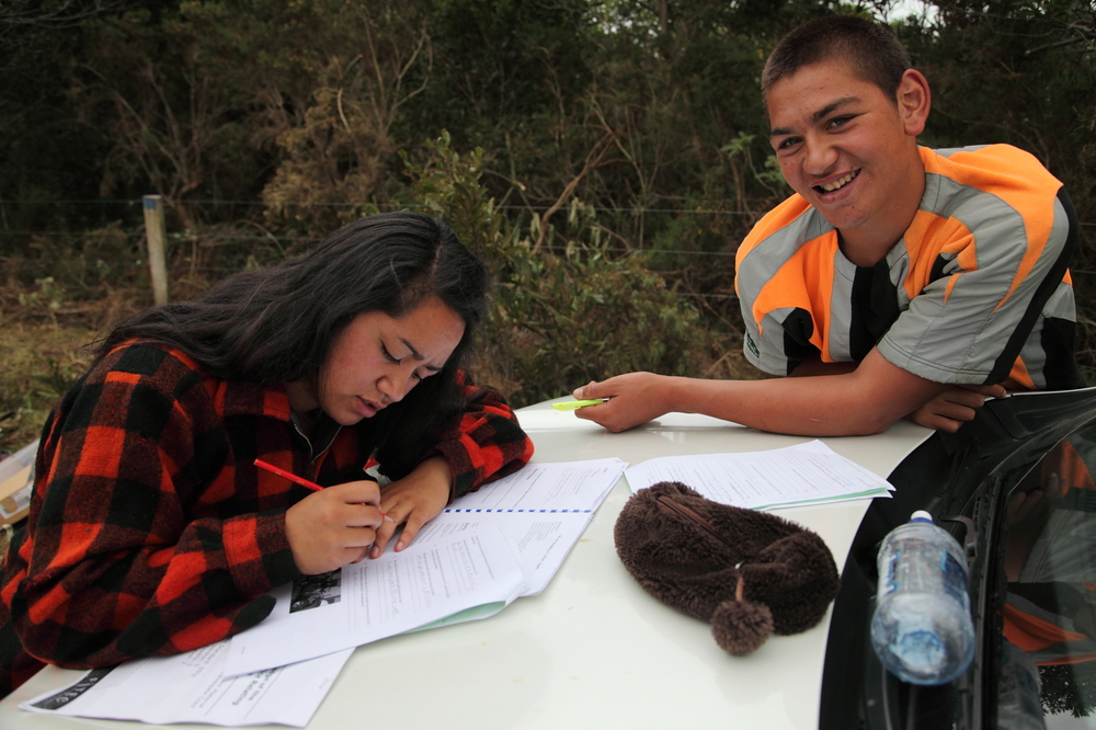 Kaitaia College students completing some of the theory work on a Wai Fencing short course.
