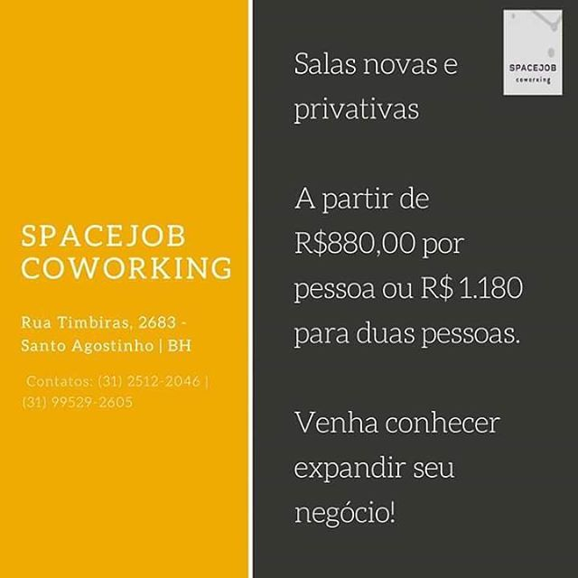 Você é nosso convidado para conhecer as salas privativas e os diferenciais do SpaceJob Coworking.  #SpaceJobCoworking #Coworking #Negocio #Investimento