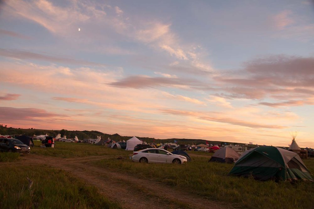 Oceti Sakowin (across the river from the Sacred Stone camp) at dusk, from our camp spot.