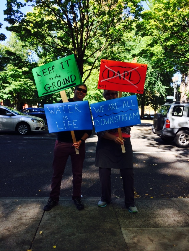 In Portland, today at a Sacred Stone Camp solidarity gathering.