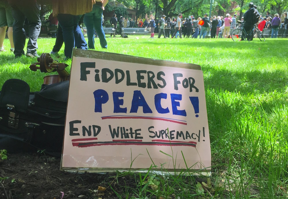 "A sign that I sat next to while playing some fiddle tunes, as part of the counter-protest to the white supremacists ""free speech"" gathering in portland, oregon on June 4th, 2017."
