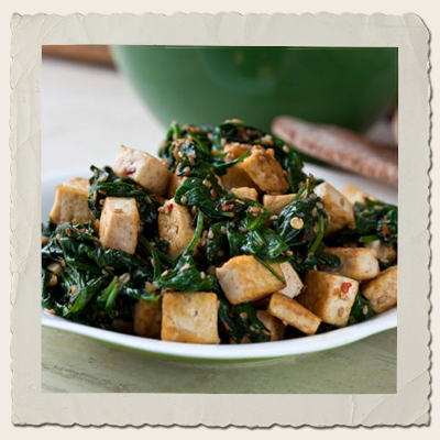 Tofu, Spinach & Garlic Stirfry