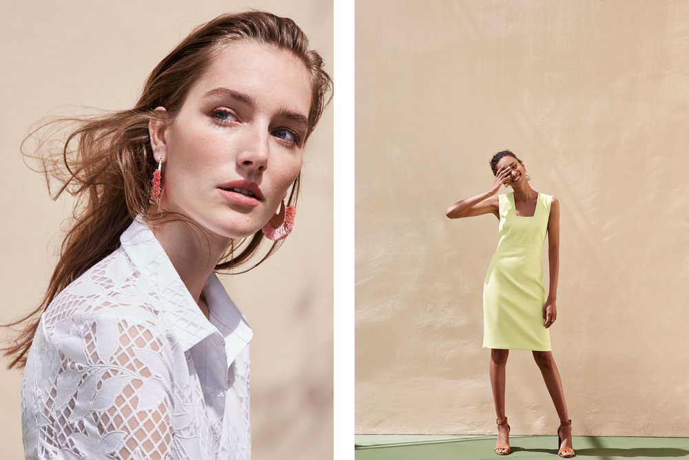 Ann Taylor SS18  Josephine le Tutor and Anaïs Mali photographed by Mei Tao