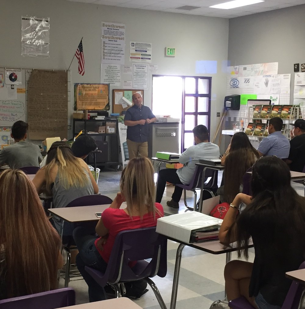 Students in Mrs. Mayo's Ag class at Southwest High School listen attentively