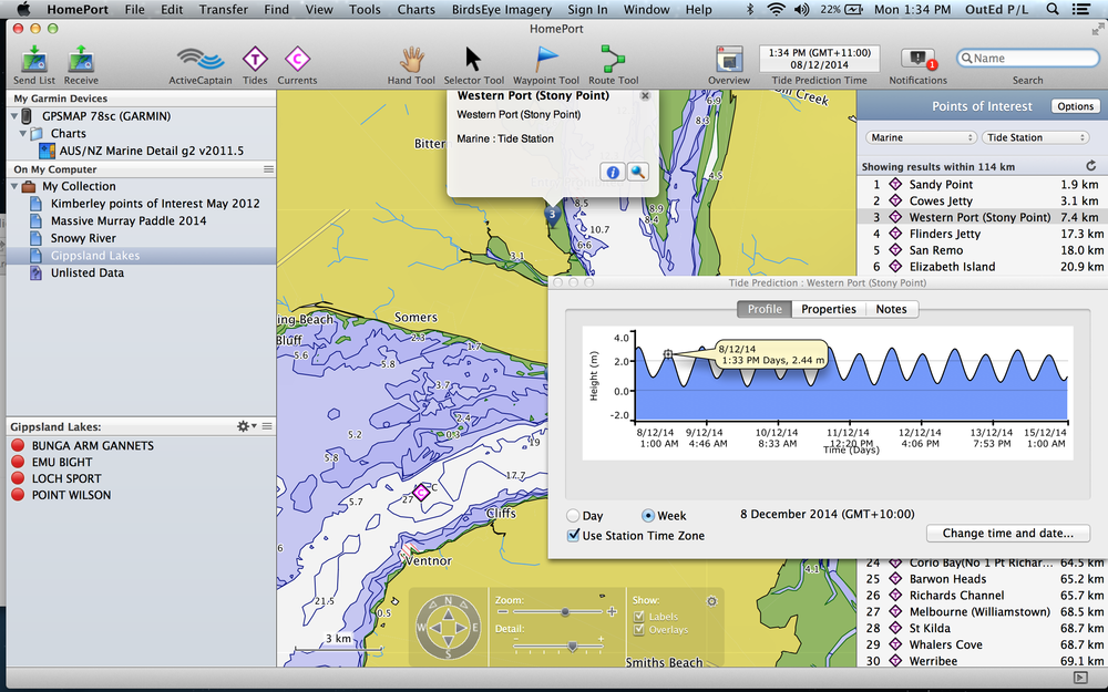 Tides in the Homeport software