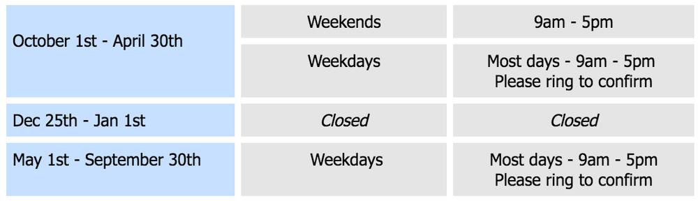 Shop hours