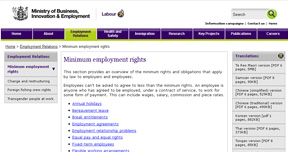 Department of Labour LINK  This link outlines in detail the minimum rights for any person working in New Zealand.