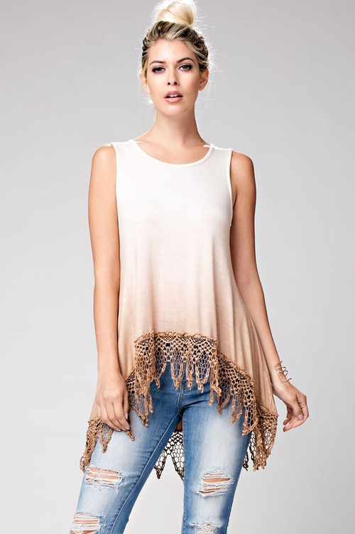 tan and white crochet sleeveless top