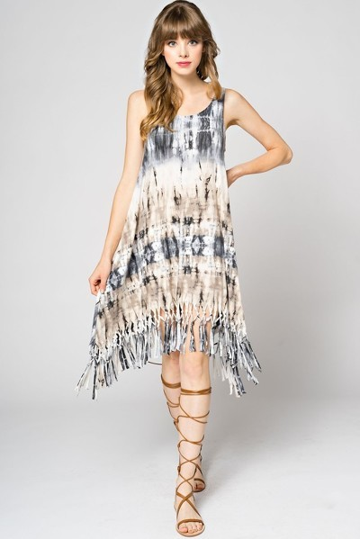 Earthy faux suede dress with long fringe