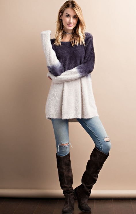 gray and white fuzzy mohair warm sweater