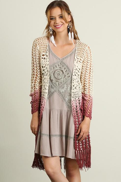 long crochet cardigan pink fringe