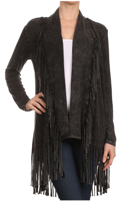 T Party stone washed black fringe cardigan