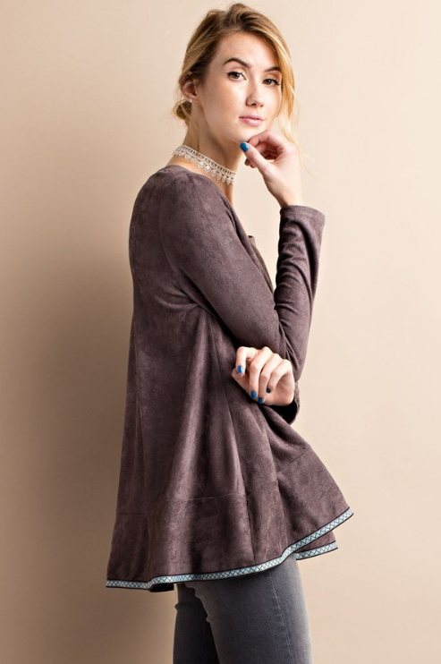 Easel Faux Suede brown Tunic