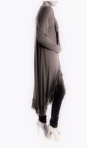 Long fringe cardigan in mineral washed brown