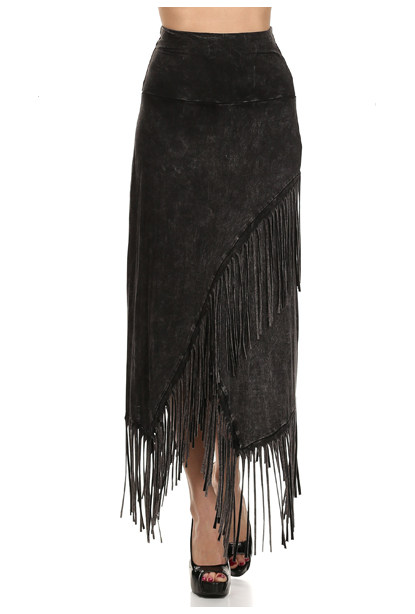 Black stone washed fringe maxi skirt