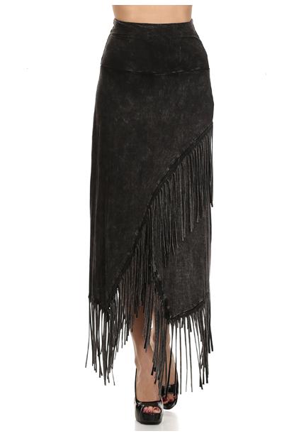 Black stone washed fringe maxi skirt