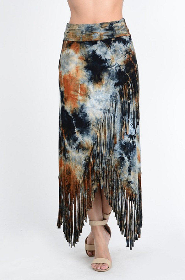 Stormy tie dye fringe maxi skirt