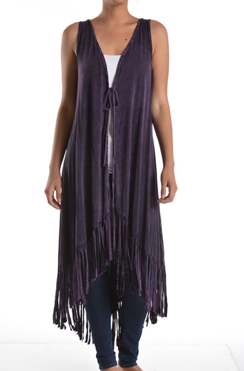 Purple stone washed vest with lace back and front tie