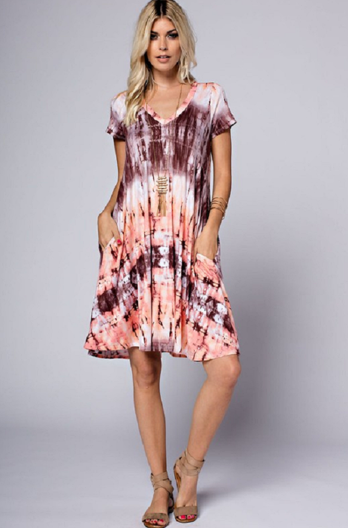 Tie dye mauve T-Shirt dress with pockets  made of rayon