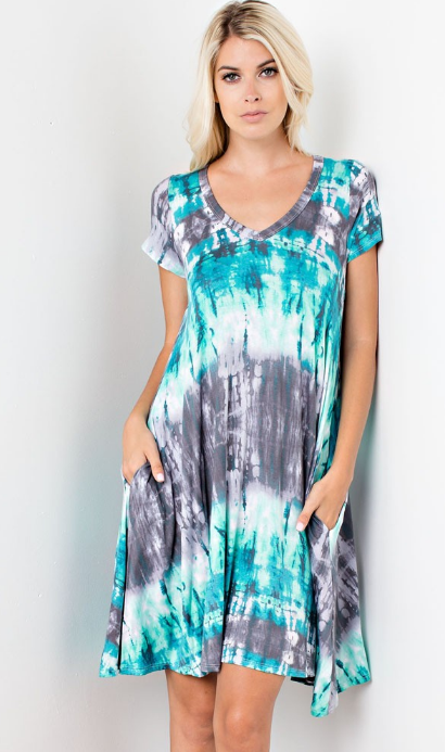 tie dye blue T-Shirt dress with pockets  made of rayon