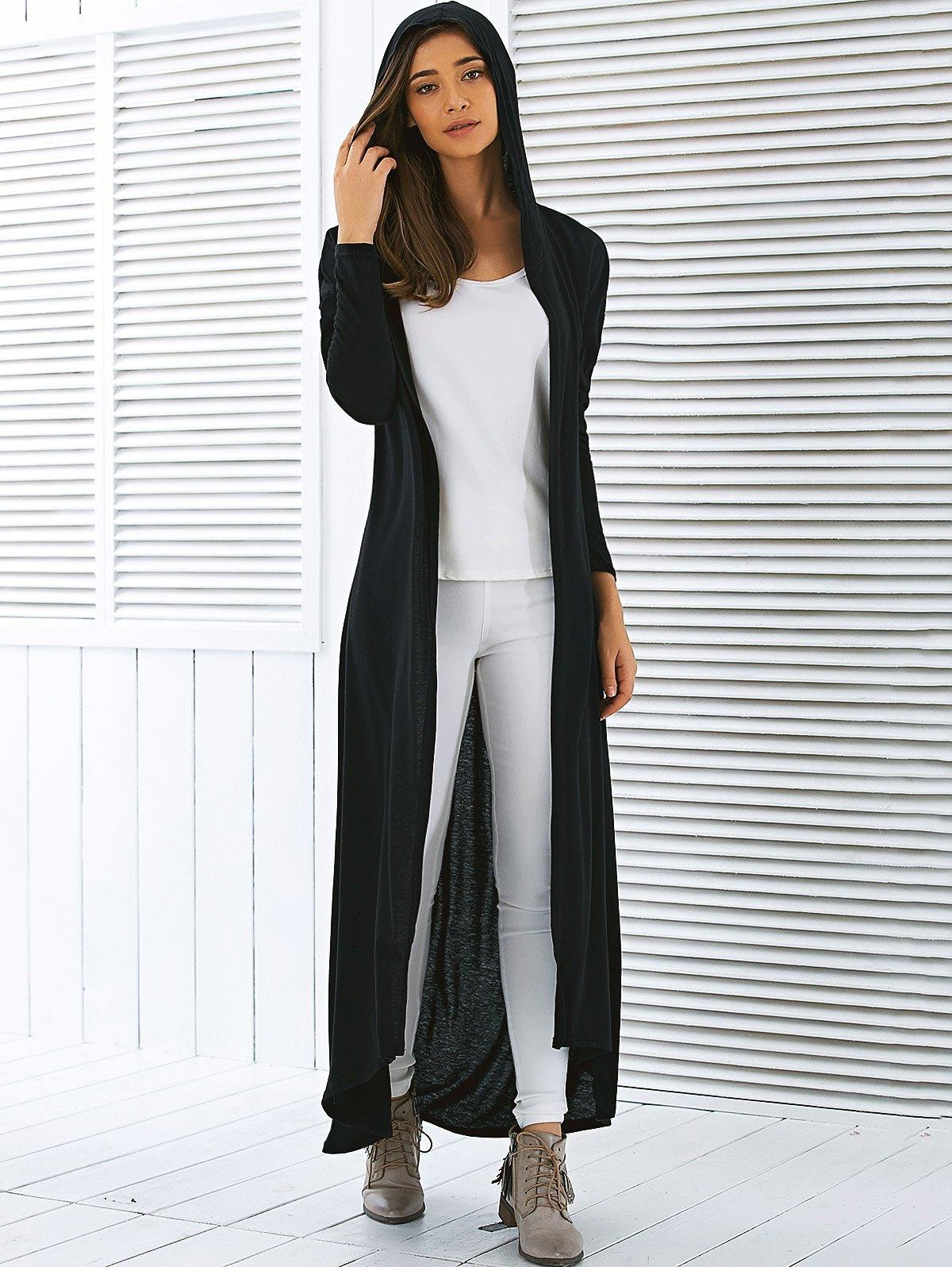 Long Cardigan Hooded Duster Floor Length Olive Or Black ...