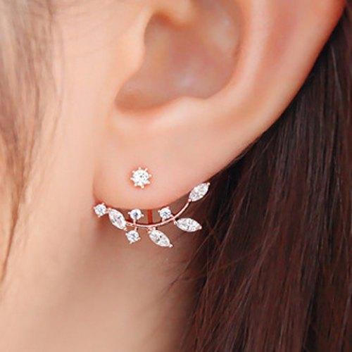94ae5b1a0 Rhinestone Faux Gold Leaf Delicate Earrings Studs — MoonShine Clothing