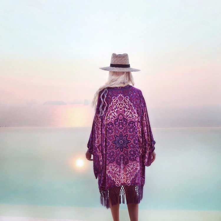 Purple tassel print chiffon blouse long kimono cardigan beach ...
