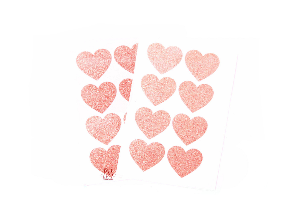 Glitter heart stickers by Pelemele