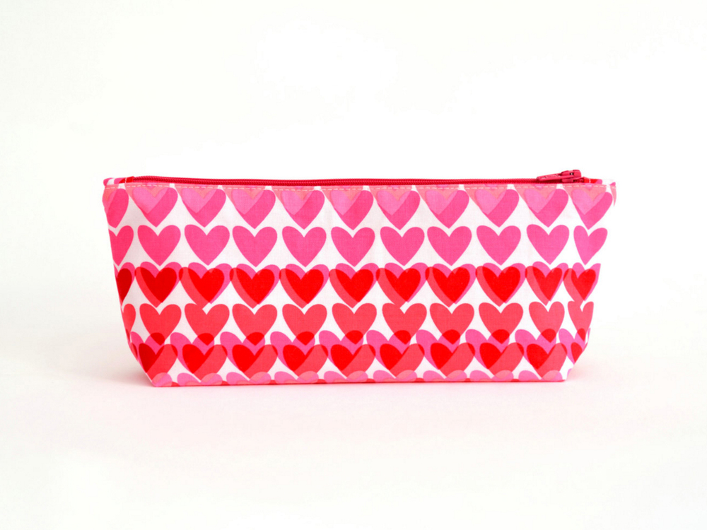 Red hearts pencil case by TizzysSecrets