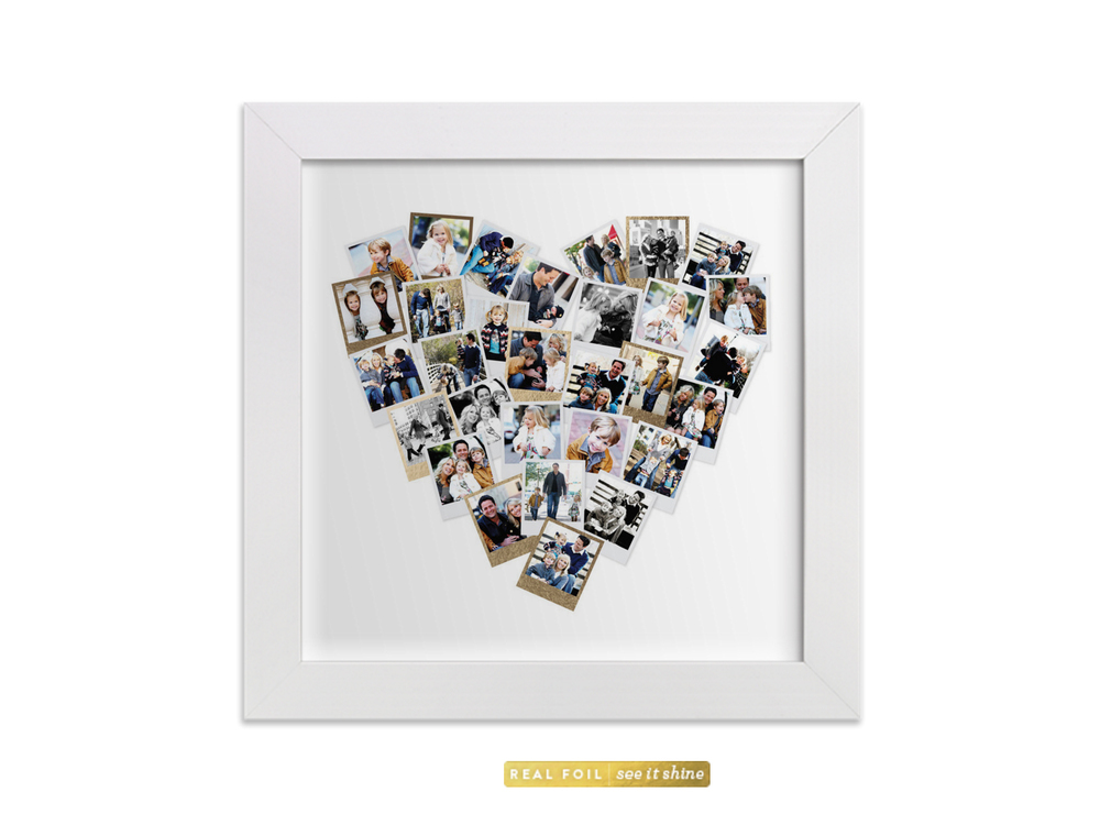 Personalised heart snap shot collection with gold foil by Minted