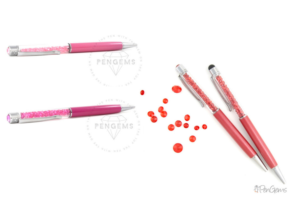 Baby pink ,  pink sapphire , and  ruby red  Signature Pens by PenGems