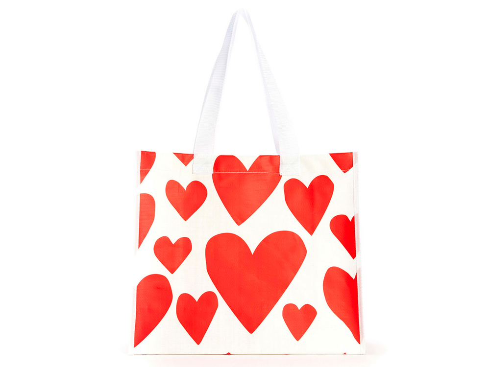 Extreme super cute hearts shopping bag by ban.do