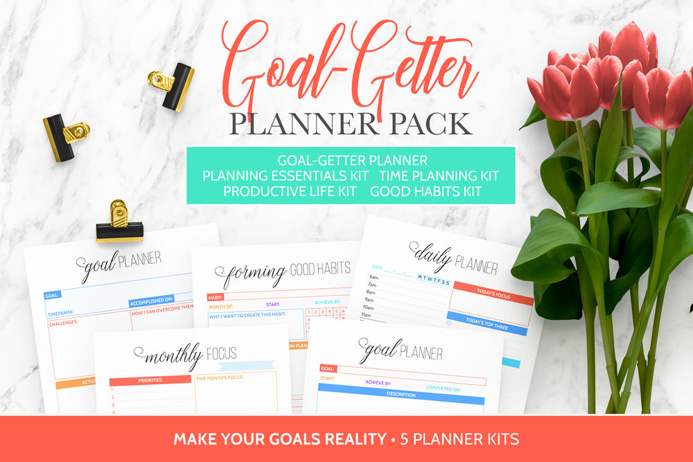 The Goal-Getter Planner Pack includes the Goal-Getter Planner, Planning Essentials Kit, Productive Life Kit, and Good Habits Kit, all designed to help you achieve your goals.