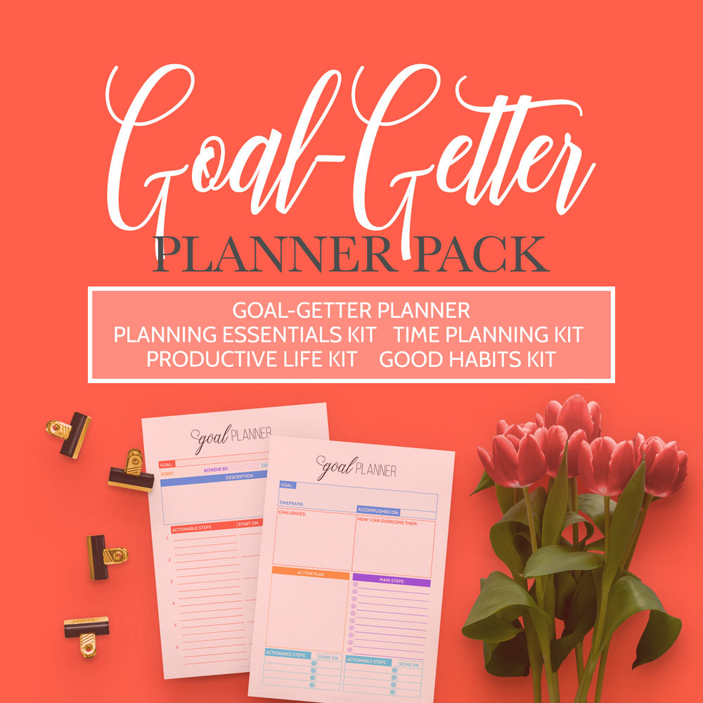 The Goal-Getter Planner Pack will help you achieve your goals. Get it now.