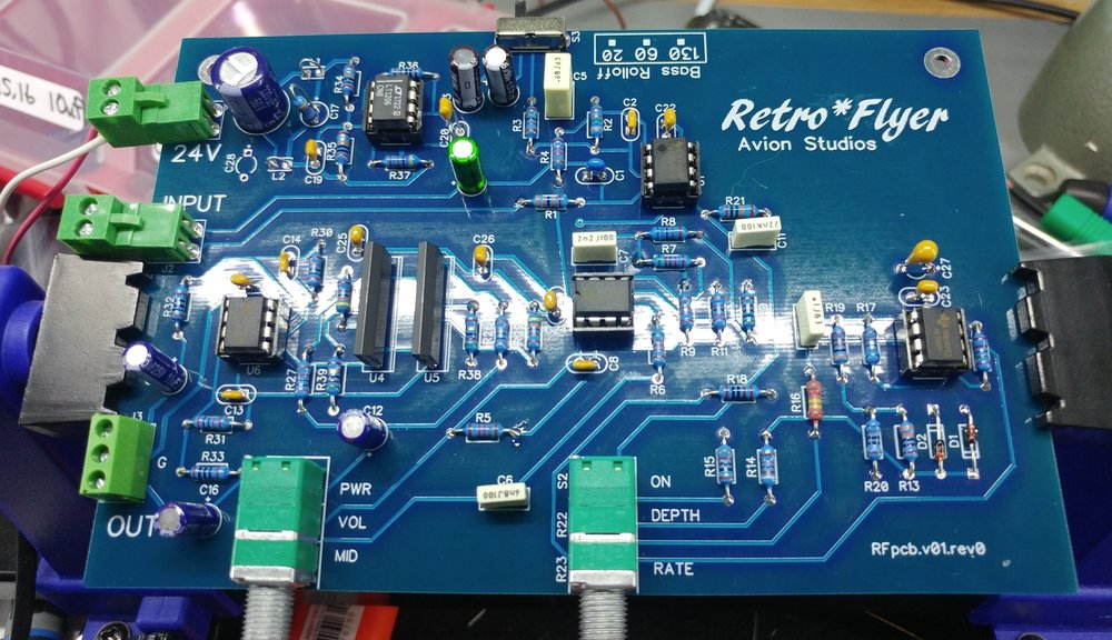 Here's one of our prototype boards looking pretty. Note the opamp sockets, clip-style connectors, kemet 5% film caps and dual VCAs