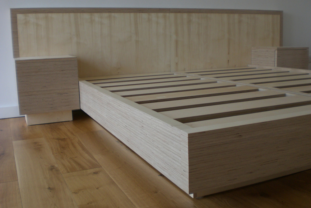 Birch Ply Bed and Cupboards