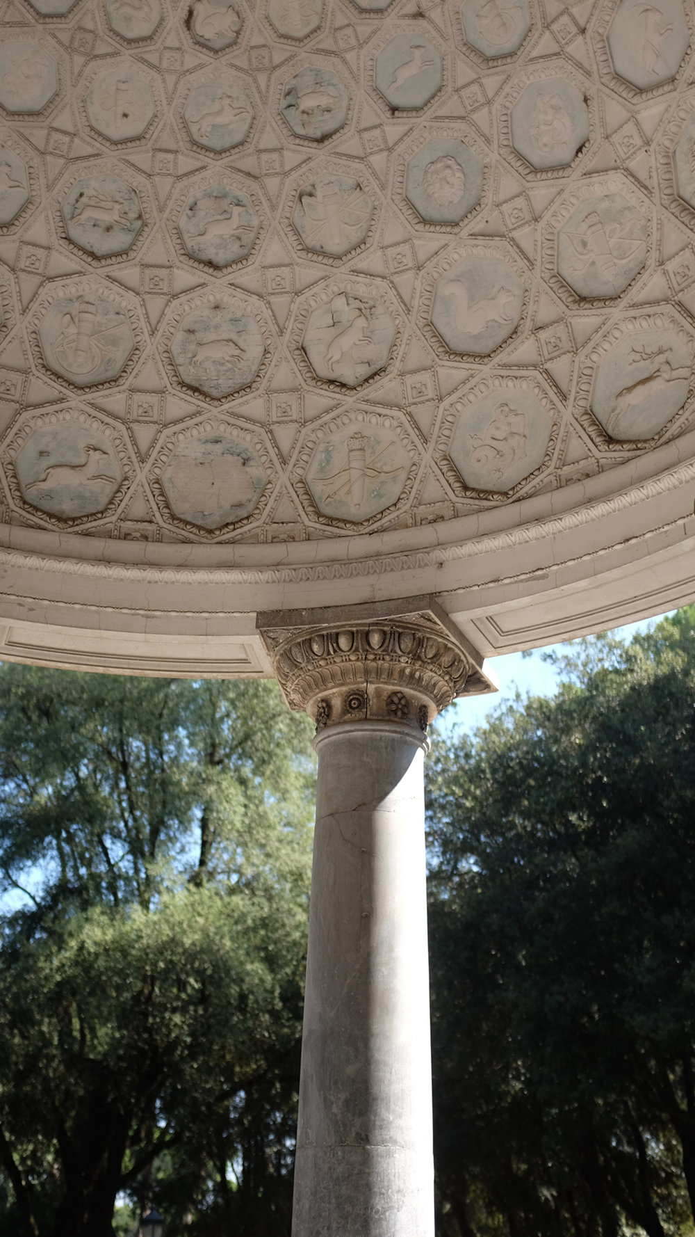 One of many monuments in the Villa Borghese.