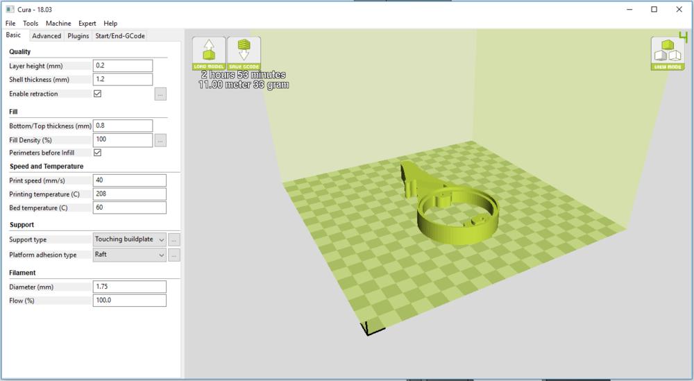 Final part print settings in Cura.