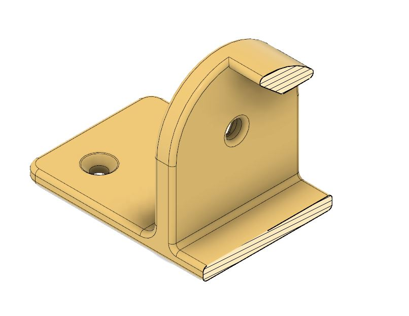 Section view showing integrated angled stop
