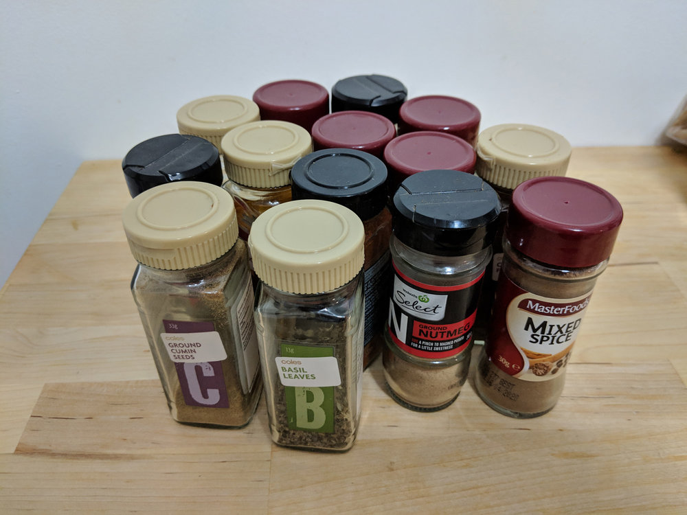 Spice collection of 14 unique spices (duplicates not pictured)