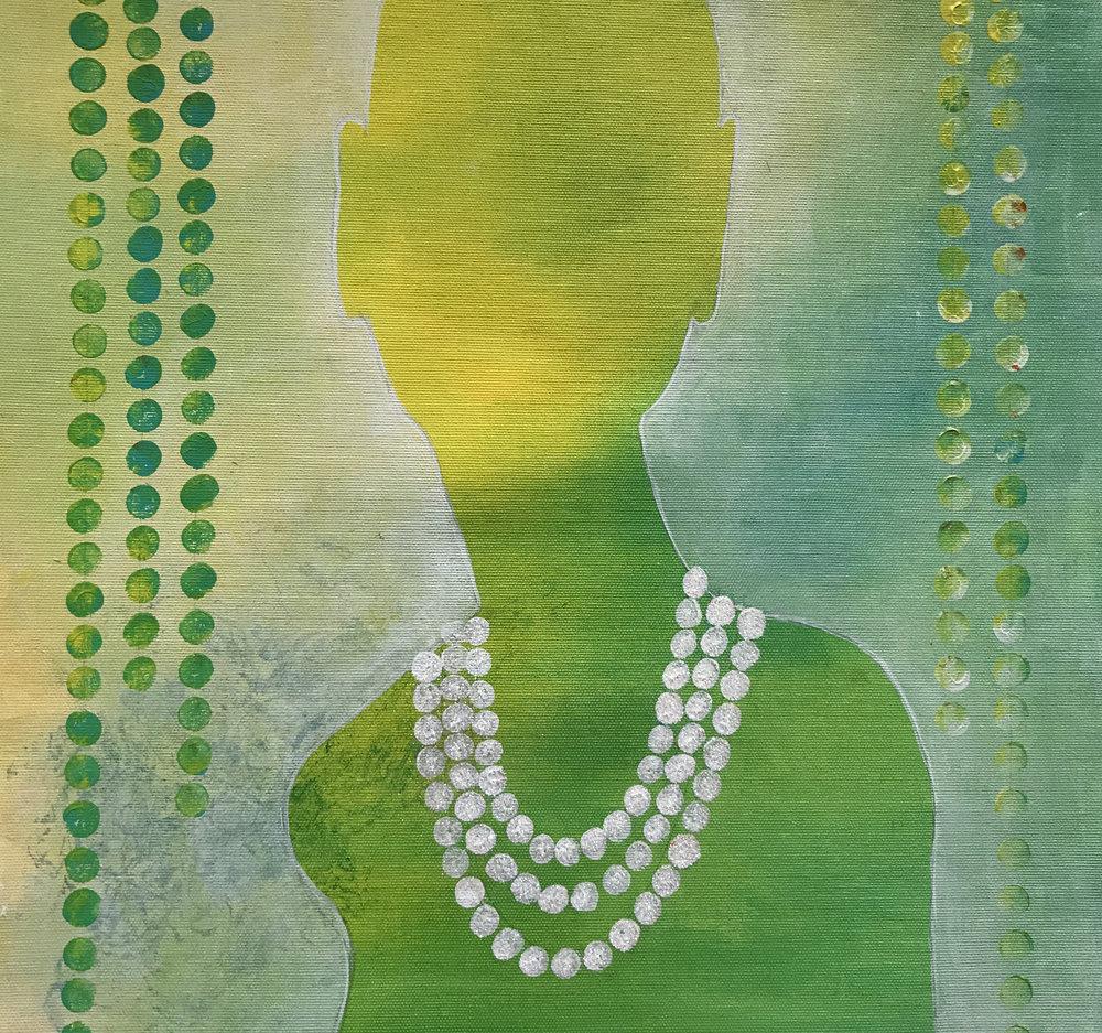Kvinna med pärlor 2 800 kr