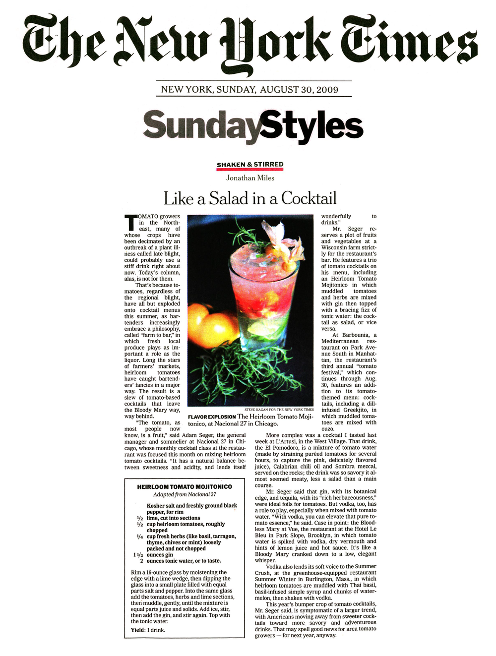 New York Times, Heirloom Tomatoes, Mark Gaier, Clark Frasier, Arrows Restaurant