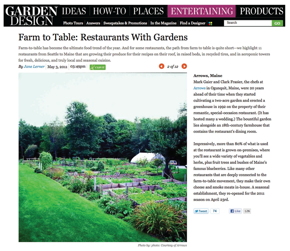 Farm to table, Garden design, Restaurant, Arrows, Maine, Mark Gaier, Clark Frasier, Ogunquit Maine, 18th Century Farmhouse, bueberries