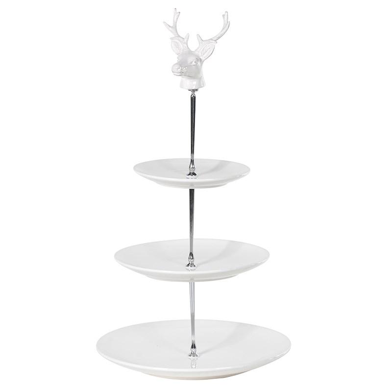 White Ceramic Deer Head 3 Tier Cake Stand  sc 1 st  burrow \u0026 hide & White Ceramic Deer Head 3 Tier Cake Stand \u2014 BURROW \u0026 HIDE