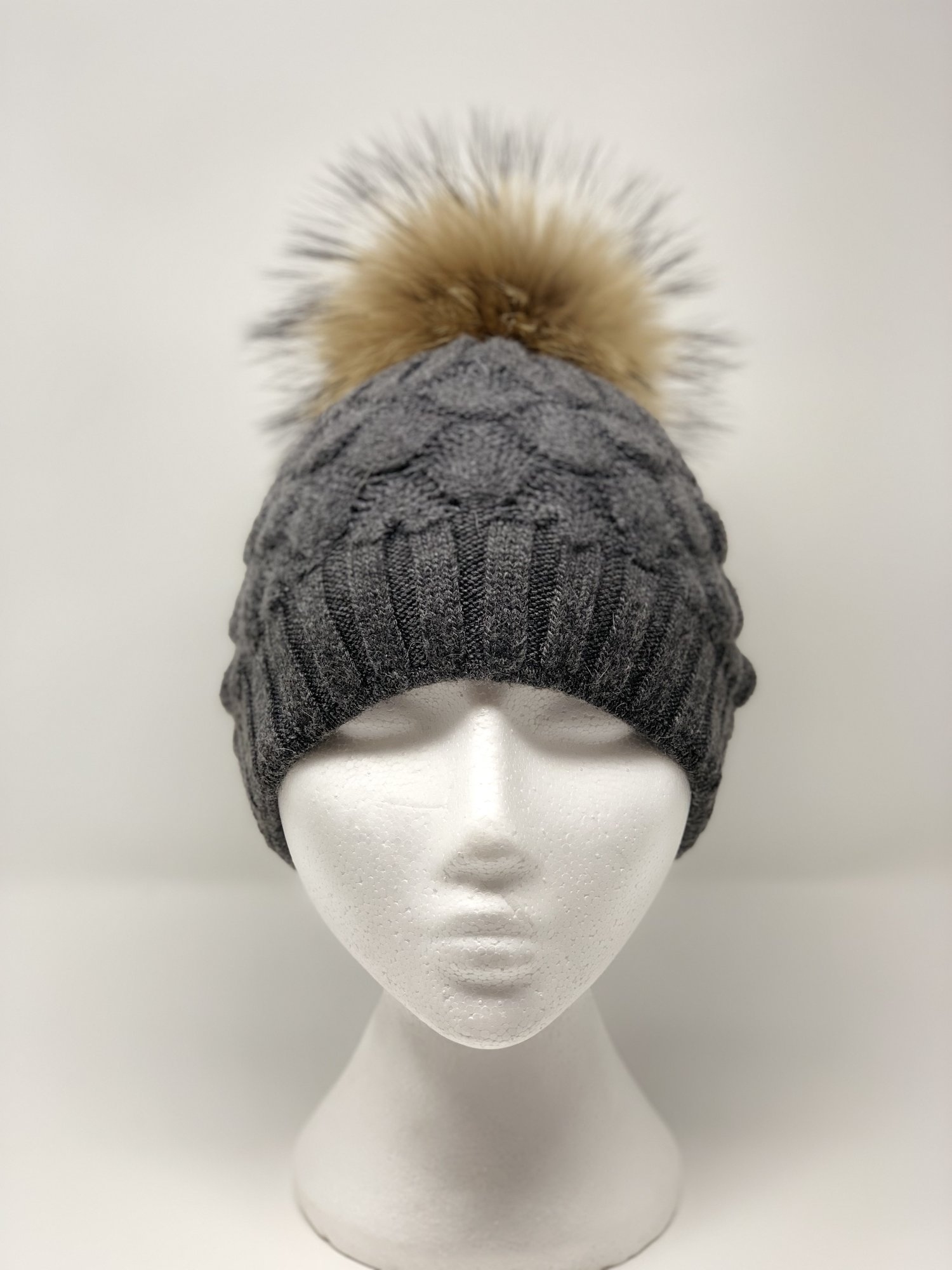 Dark Grey Cashmere Scallop Knit Pom Pom Hat — BURROW   HIDE 32782b73c12