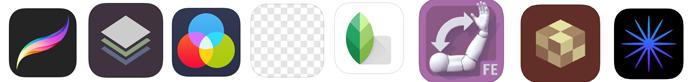 Procreate, Stackables, Leonardo, Background Eraser, Snapseed,ArtPose, Matter, Lenslight