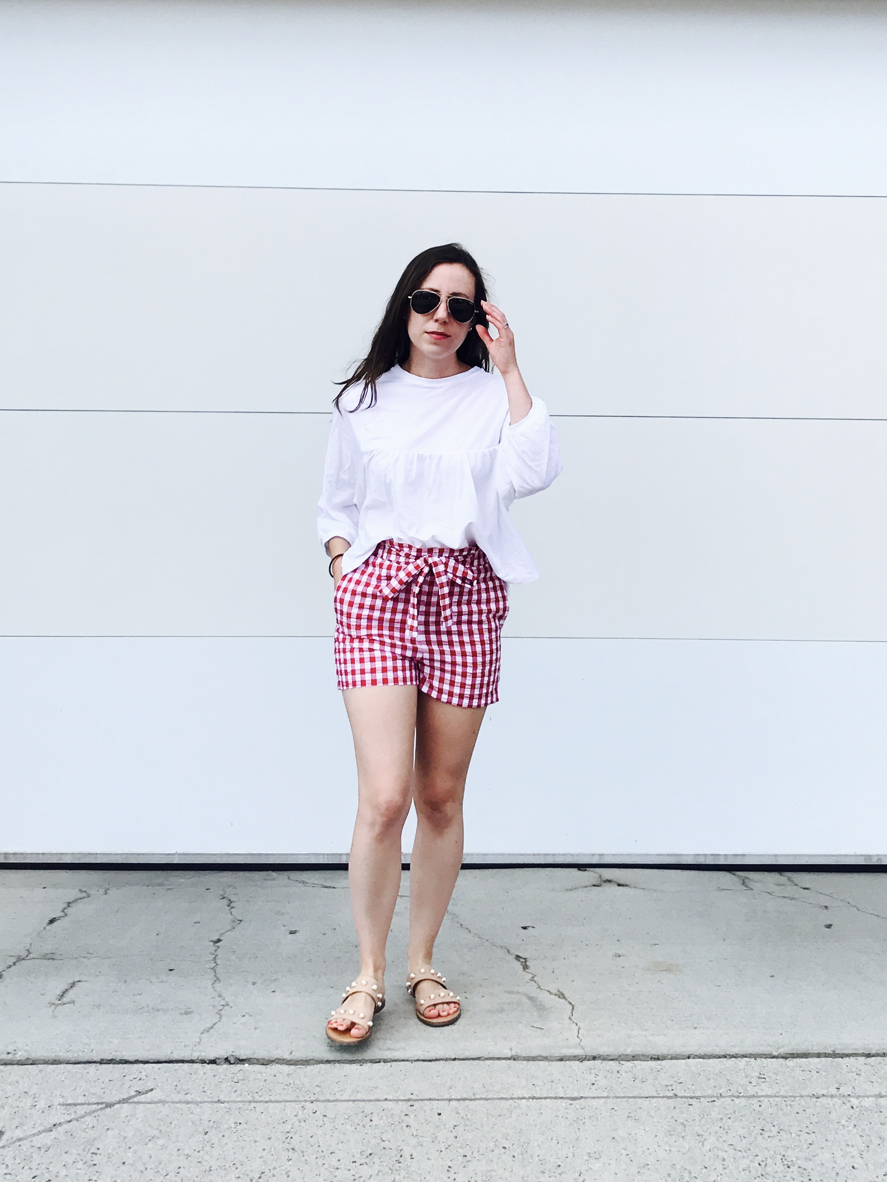 b94ec6f3 zara top asos new look gingham shorts target pearl flats randolph sunnies